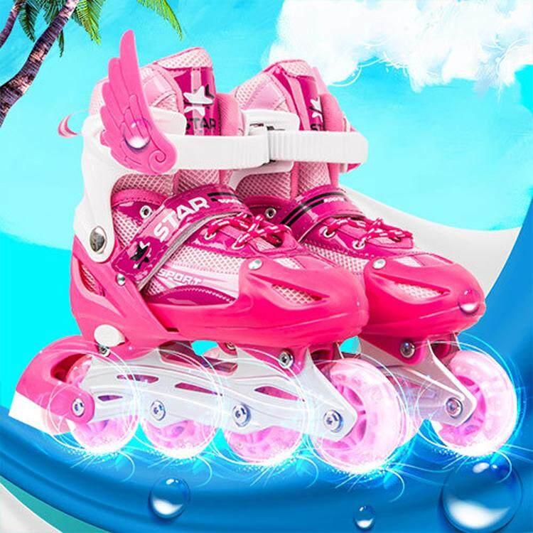 In-Line Skate รองเท้าสเก็ตสำหรับเด็กของเด็กหญิงและชาย โรลเลอร์สเกต รองเท้าสเก็ต โรลเลอร์เบลด Roller Blade Skate D202 รุ่น S M L --Pink.