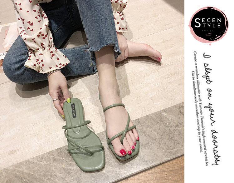 *SECEN* Slipper Shoe //รองเท้าพรีเมียม-มีกล่อง// รองเท้าแตะหนังPU หนังนุ่ม ที่รองส้นเท้าหนา +มีเก็บเงินปลายทาง+ (รุ่น SS-528)