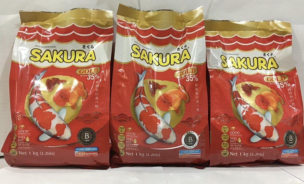 อาหารปลา ซากุระ โกลด์ sakura อาหารปลาทอง เม็ดจิ๋ว ขนาดไซด์ B เหมาะกับปลาไซด์เล็ก (อาหารปลาสวยงาม เร่งสี เร่งโต น้ำไม่ขุ่น) 1000 กรัม