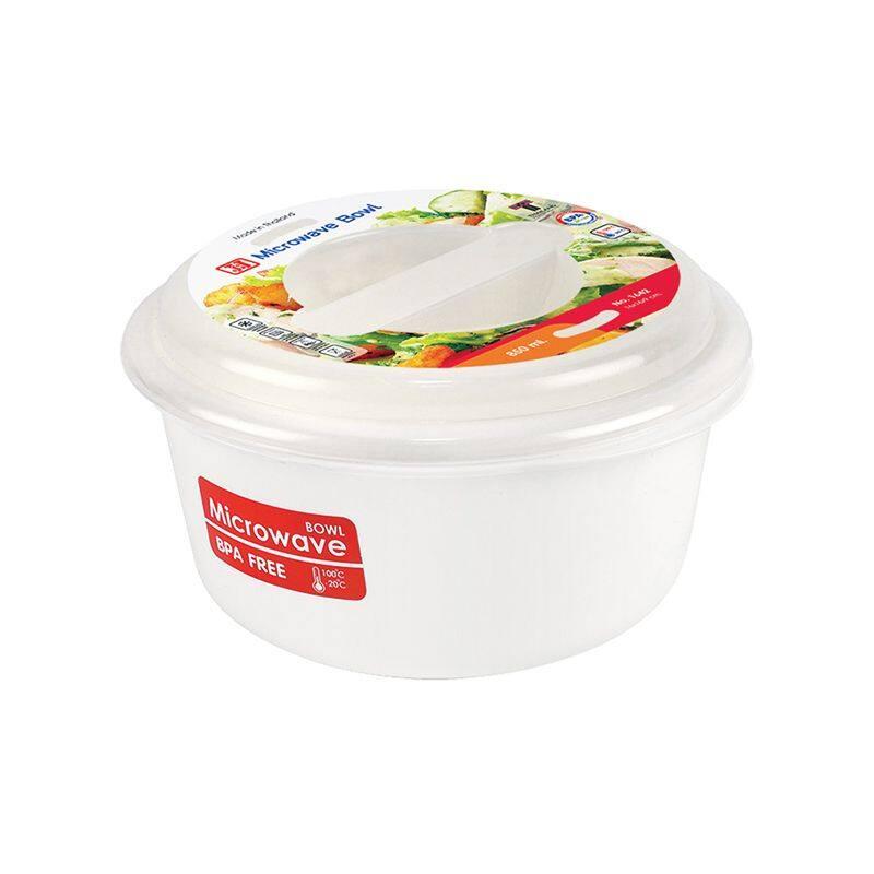 กล่องอาหารไมโครเวฟทรงกลม รุ่น 1642 ขนาด 16 x 16 x 9 ซม. 850 มล. สีขาว