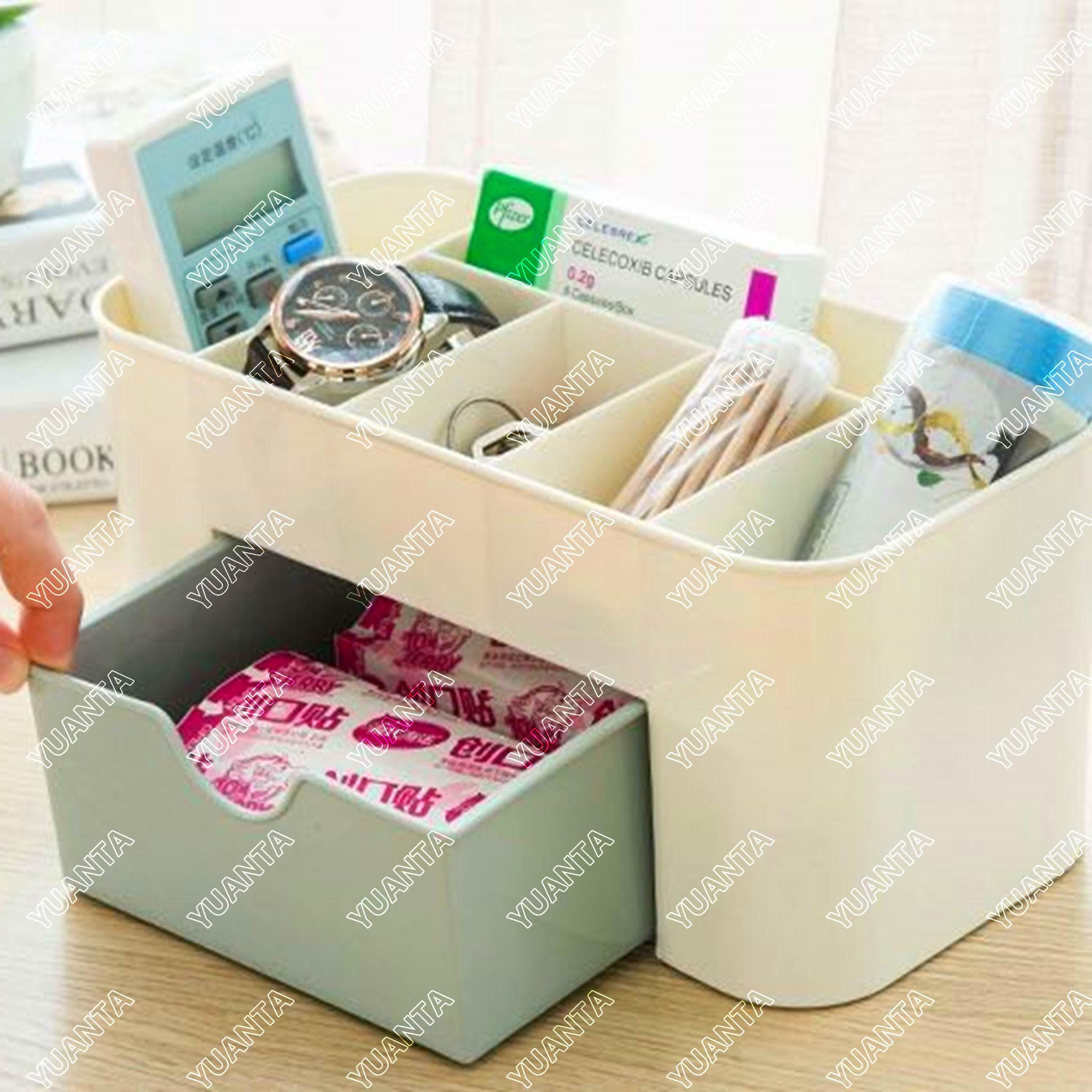 YUANTA กล่องวางเครื่องสำอางค์ กล่องเก็บอุปกรณ์สำนักงาน กล่องเอนกประสงค์ กล่องเก็บตาราง กล่องเก็บเครื่องสำอาง Table storage box, Cosmetic storage box