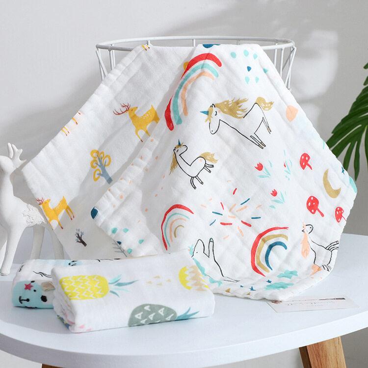 ผ้าเช็ดหน้าเด็ก 25x25 เซนติเมตร อเนกประสงค์ คละลาย ผ้าสาลู ผ้าเช็ดมfj01.
