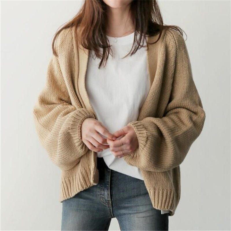เสื้อกันหนาวไหมพรม เสื้อคลุมคาร์ดิแกน สีพื้น เนื้อผ้าหนานุ่ม สไตส์เกาหลี.