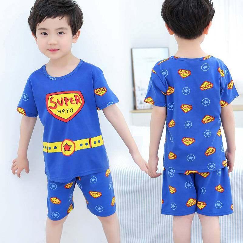 ชุดนอนเด็ก ผ้าฝ้ายฤดูใบไม้ร่วงแขนสั้น เสื้อผ้าเด็กขนาดใหญ่ ชุดนอนผู้เด็กชาย ชุดนอนเด็กผู้หญิง ชุดนอนลายการ์ตูน