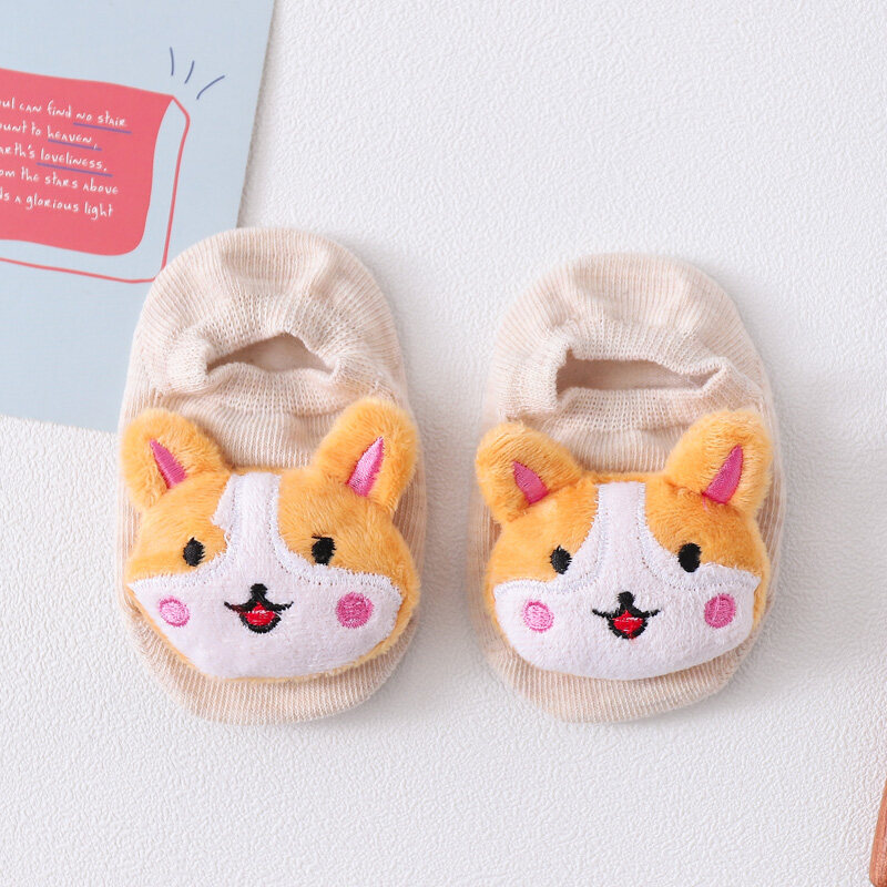 GZW01ถุงเท้าตัวการ์ตูนสำหรับเด็กแรกเกิด มีกันลื่น มีกันลื่น หัวตุ๊กตา