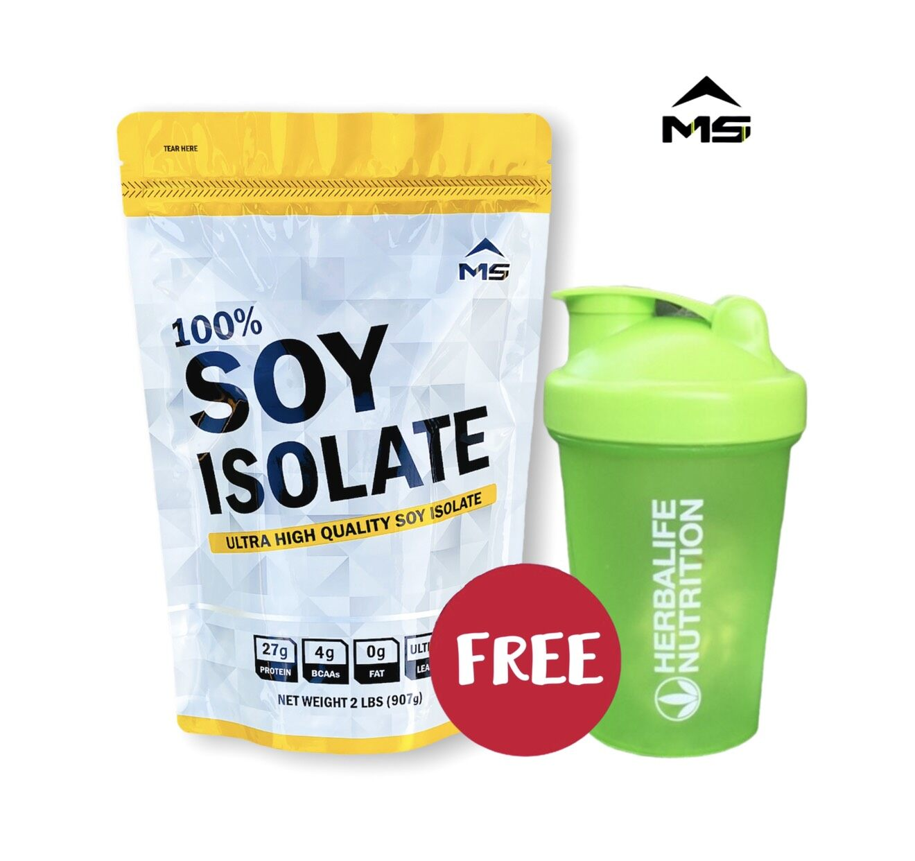Ms Soy Protein Isolate + แก้วเช็ค(คละสี) เวย์ซอยโปรตีน โปรตีนถั่วเหลือง เวย์ถั่วเหลือง เพิ่มกล้าม ลดไขมัน สำหรับคนแพ้เวย์โปรตีนนม.