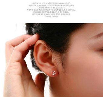 Harga 1 Pair Asymmetry musical note Cute Notes 925 Silver Stud EarringsJewelry-White - intl