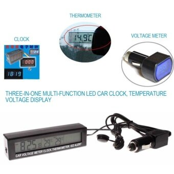 3 In 1 Multifunctional Car Digital Thermometer Voltmeter Clock LCD Display - intl