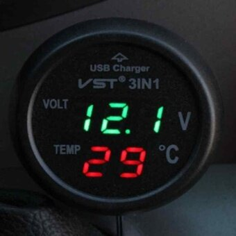 3 in1 Car LED Voltmeter Digital Thermometer Car Battery Monitor CarUSB Charger - intl