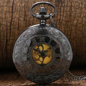 Black Gray Roman Dial Quartz Vintage Antique Pocket Watch NecklaceWatches with Chain - intl