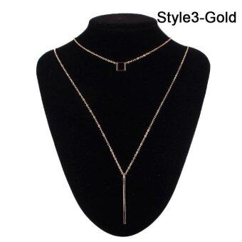 BUYINCOINS Charm Simple Women Layering Choker Necklace DoubleLayers Geometry Collar Necklace Sequins Chain Fashion Jewelry(gold)- intl