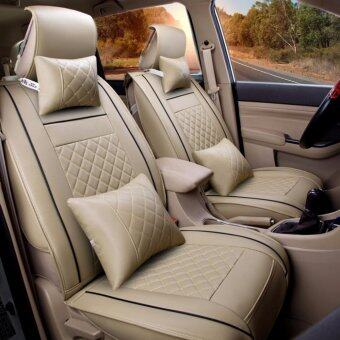 Car Seat Covers Set PU Leather,Universal Auto Seat 5 Covers Full Set Bucket Anti-Slip,Beige Size M - intl