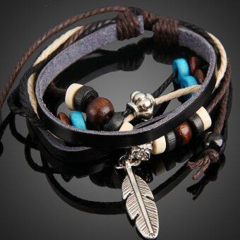 Harga Feather Pendant Girl Lady Braid Bracelet String Band Bangle Beads