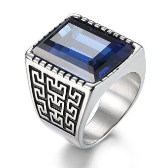 Harga Men's Vintage and Fashion Square Gemstone Ring with Pattern-Blue