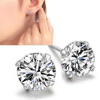 Harga Silver Plating Stud Earring Zircon Glaring Earrings for Women Girl - intl