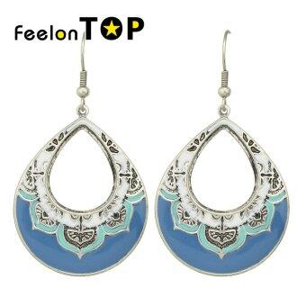 Harga Feelontop Bohemian Style Blue Enamel Big New Designs Earrings - intl