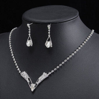 Harga Wedding Bridal Princess Party Crystal Rhinestone Necklace Earring Jewelry Sets - intl