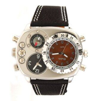 Harga OULM Military Army Dual Time Zones Quartz Leather Watch (Coffee)