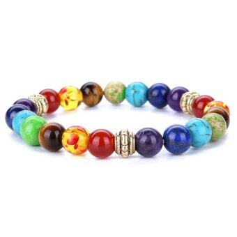 Harga 8mm Bead Diameter Unisex 7 Chakras Gemstone Beaded Bracelet Yoga Reiki Prayer Energy Healing Balance Jewelry - intl