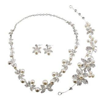 Harga Fashion women's Silver Jewelry Sets Wedding Bridal Pearl Crystal Necklace Earring Set - intl