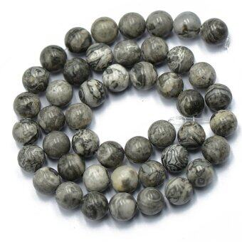 Harga 8mm Natural Gray Landscape Jasper Round Gemstone Loose Beads Strand 15 inch
