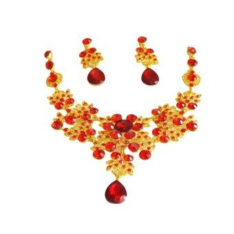 Harga Charm Wedding Bridal Rhinestone Crystal Necklace Earring Plated Jewelry Sets Red