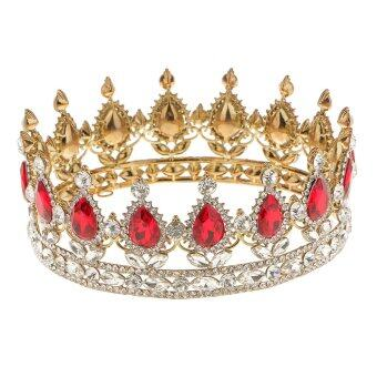 Harga King Queen Bridal Crown Rhinestone Tiaras Gold Plated Hair Jewelry Red - intl