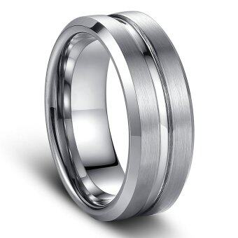 Harga Men Fashion Tungsten Caribe Ring 8mm Matte Finish Notch Central Engagement Wedding Band Jewelry