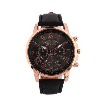 Harga Classic Geneva Women Lady Leather Band Stainless Steel Quartz Analog Wrist Watch - intl