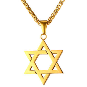 Harga U7 Jewish Jewelry Magen Star of David Pendant Necklace Women Men Chain 18K Gold plated Israel Necklace (Gold) - Intl