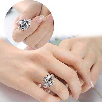 Harga Women S925 Silver Ring Cut White Sapphire & Topaz Gemstone Ring - intl