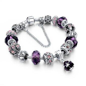 Harga Ai Home Women Girl Crystal Glass Beads Chain Bangle Bracelet L (Purple) - intl