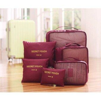 Harga meet กระเป๋าจัดระเบียบเสื้อผ้าสำหรับเดินทาง 6 sets travel Organizers Packing Cubes Luggage Organizers Compression Pouches - Wine Red (เซ็ท 6 ชิ้น)