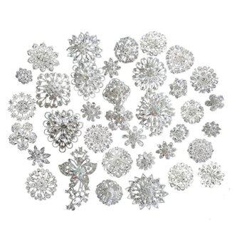 Harga Lot 25pcs Silver Color Sparking Rhinestone Wedding Bridal Crystal Brooches Brooch Pins Bouquet Kit - intl