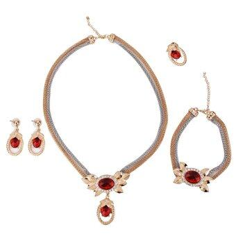 Harga RIS Wedding Bridal Prom Rhinestone Crystal Necklace Earrings Jewelry Set Red