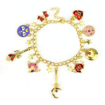 Harga Freeshipping Sailor Moon Charm Bracelet Gold Plated Chain Bracelet and Bangles Tsukino cat For Women Brand Fashion Jewelry = Size: Not Specified = Color: Not Specified - intl
