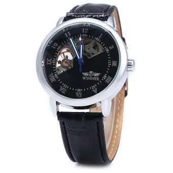 Harga Winner W032 Men Fan-shaped Hollow Mechanical Watch with Leather Band Arabic Roman Numeral Scales - intl