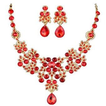 Harga Ai Home Bride Accessories Red Shine Crystal Necklace 2 Piece Set (Red)