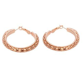 Harga LALANG 1 Pair Glaring Alloy Earrings Hoops Ear Loop 45mm Rose Gold