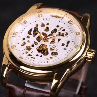 Harga Skeleton Watch Hollow Automatic Mechanical Leather Strap Women Casual Business Sport Fashion Top Brand Wristwatch (Brown Band&WhiteGold) - intl