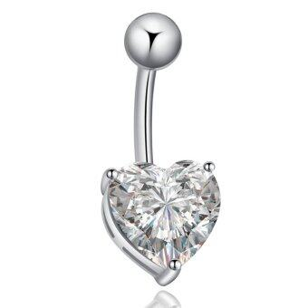 Harga Belly Piercing Navel Belly Ring Barbell Bar Crystal Heart Rose Silvery White
