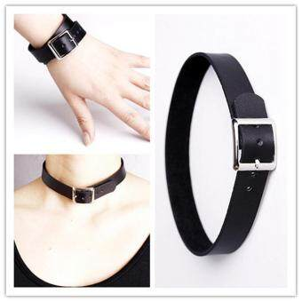 Harga 14 styles Fashion Mens Womens Pu Leather Punk Choker Collar Gothic Bracelet Necklace-Pink - intl