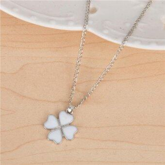 Harga Clover Heart-shaped Necklace Female Clavicle Chain- White - intl