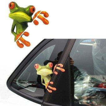 Harga 3D Peep Frog Funny Car Stickers Truck Window Decal Graphics Sticker Green - intl