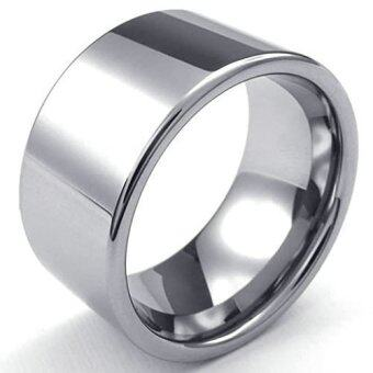 Harga Fashion Men's Titanium Steel Classic Rings Width 12mm Silver