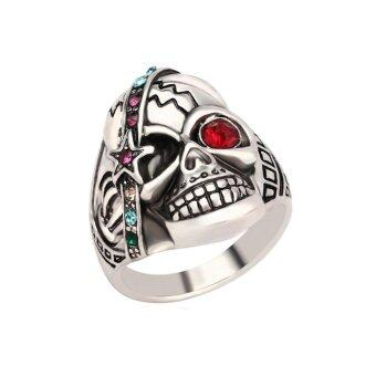 Harga Mens Jewelry Individual Punk Skull Ring Antique Silver Crystal Ring 19mm - intl