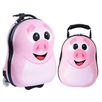 Harga Kids 2Pc Travel Tots Lightweight Luggage & Backpack The Cute Piggy Luggage Set - intl
