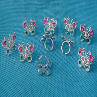 Harga 10pcs Plastic Butterfly Rings for Girl Kids Party Favor Gifts Silver
