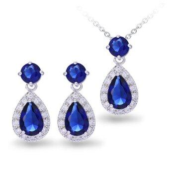 Harga Bridal Gemstone Sapphire Lab Created Jewelry Set 925 Sterling Silver Chain Necklace Pendant and Earrings