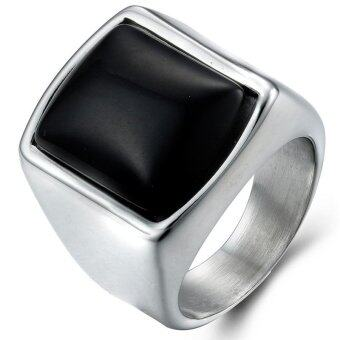 Harga Men's Fashion Black Square Gemstone Ring-Blue - intl